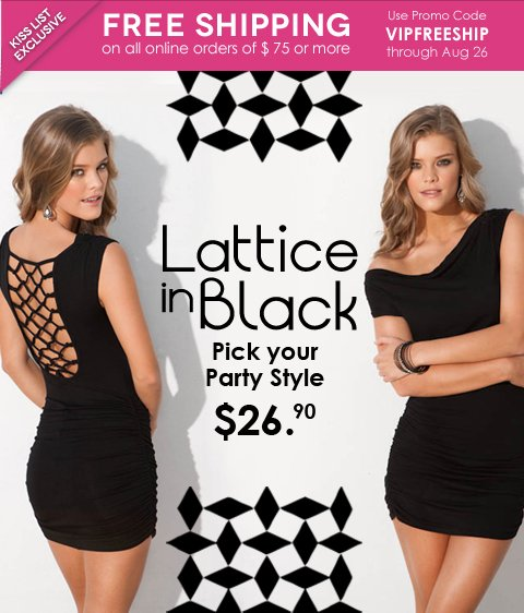 Lattice Black Dress and Free Standard Shipping on orders of $75 or more