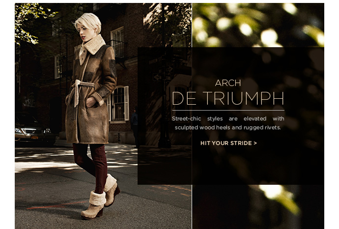 Arch de triumph - Street-chic styles are elevated with sculpted wood heels and rugged rivets - Hit your stride