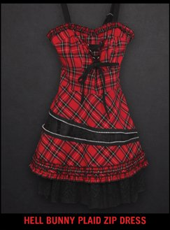 HELL BUNNY PLAID ZIP DRESS