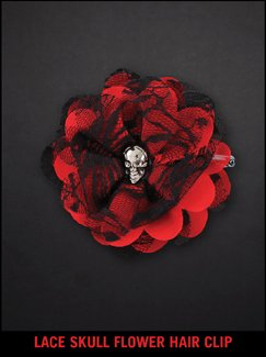 LACE SKULL FLOWER HAIR CLIP