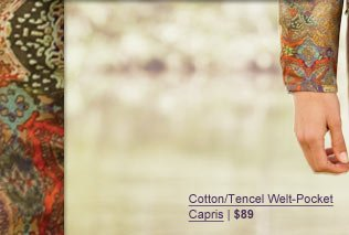 Cotton/TEncel Welt-Pocket Capris | $89