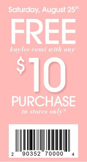 Free Kaye Cami w/ $10 Purchase