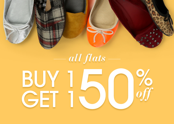 All Flats - Buy One Get One 50% Off