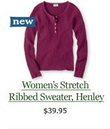 new Women's Stretch Ribbed Sweater, Henley, $39.95