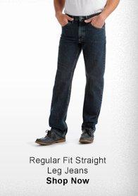 REGULAR FIT STRAIGHT LEG JEANS >