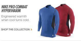 NIKE PRO COMBAT HYPERWARM | Engineered warmth when cool turns cold. | SHOP THE COLLECTION >