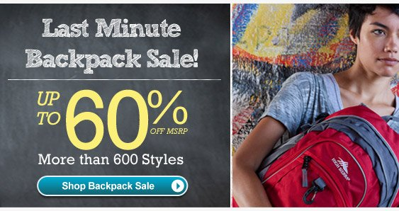Last Minute Backpack Sale