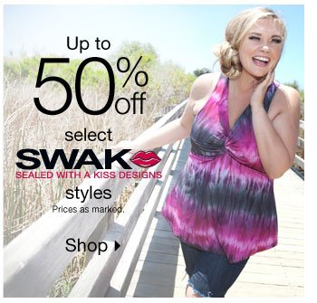 Up to 50% off Select SWAK Styles!