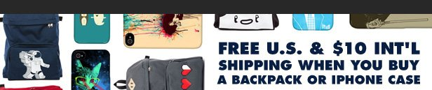 Free shipping when you buy an iPhone case or backpack