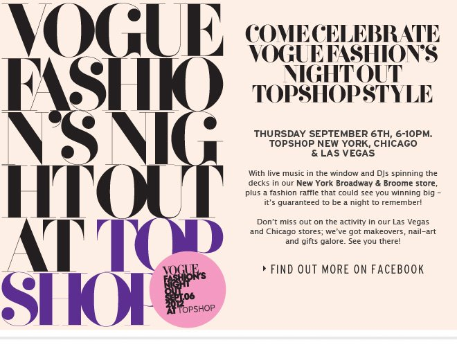 Vogue Fashion's Night Out - Find out more on Facebook