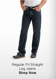 REGULAR FIT STRAIGHT LEG JEANS >