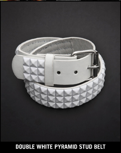 DOUBLE WHITE PYRAMID STUD BELT