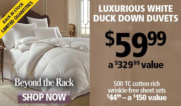 Luxurious white duck down duvets