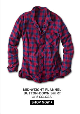 Mid-Weight Flannel Button-Down Shirt