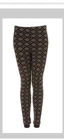 Black and Khaki Geometric Knitted Leggings