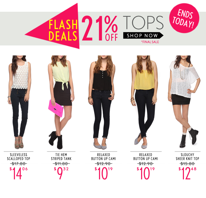 21% Off Tops! Today Only - Shop Now