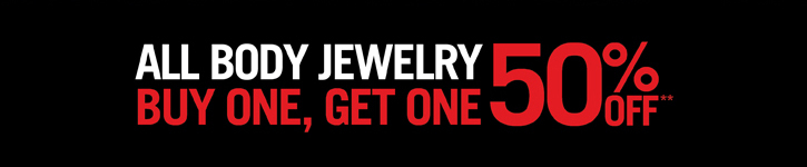 ALL BODY JEWELRY BUY ONE, GET ONE 50% OFF**