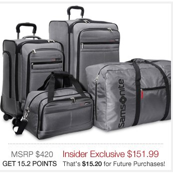 Samsonite Mobility 4 Piece Spinner Set | MSRP 420 Insider Exclusive $159.99 | GET 16 POINTS That's $16 for future purchases