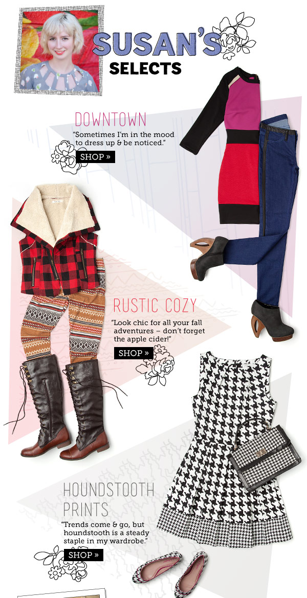 Susan's Selects: Downtown, Rustic Cozy, Houndstooth Prints