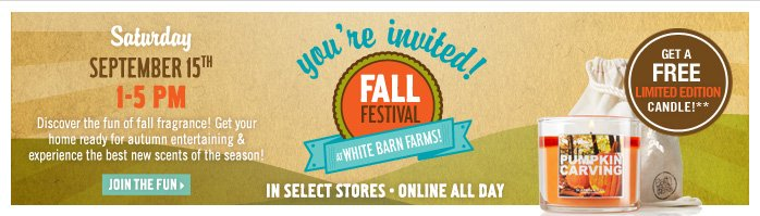 Join us at White Barn Farms for Our Fall Festival!