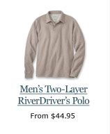 New Men's Two-Layer River Driver's Polo, from $44.95