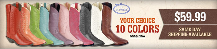 Women's Old West Boots Available in 10 Colors Just $59.99
