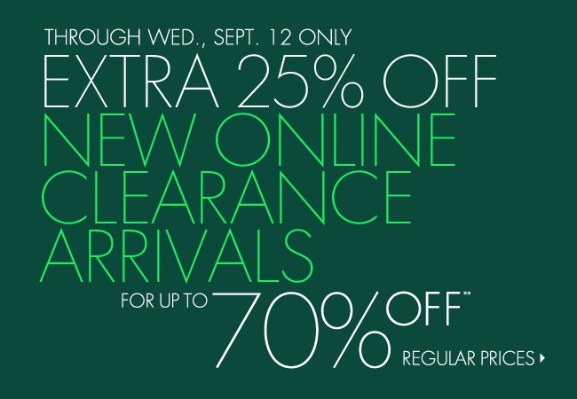 70% off New Clearance Arrivals
