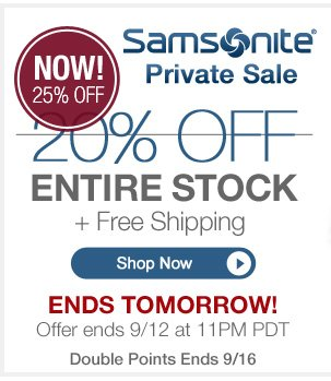 ENDS TOMORROW! | Samsonite Private Sale | 20% off entire stock + Free Shipping | Hurry, 4 Days Only! | Offer ends 9/12 at 11pm PT | Shop Now