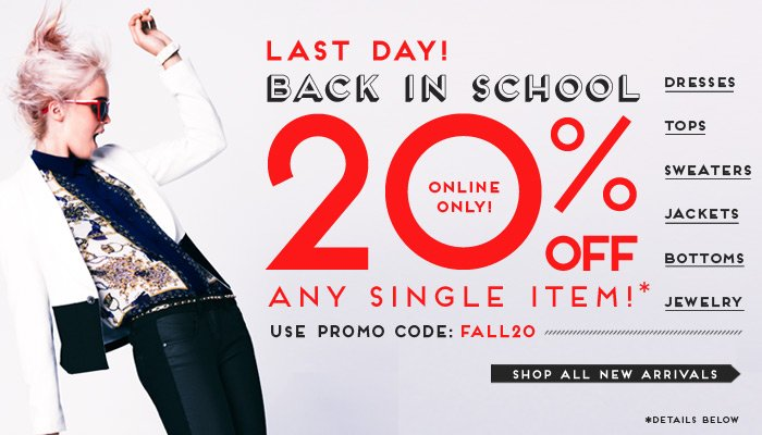 Last Day to Get 20% Off New Arrivals! - Shop Now