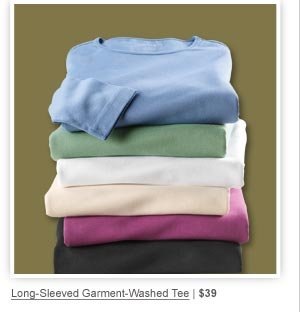 Long-Sleeved Garment-Washed Tee | $39
