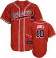 Chipper Jones Jersey: Adult Majestic Alternate Red Replica #10 Atlanta Braves Jersey