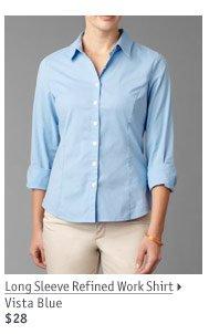 Long Sleeve Refined Work Shirt Vista Blue $28
