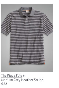 The Pique Polo Medium Grey Heather Stripe $22