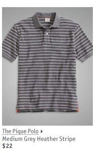 The Pique Polo Medium Grey Heather Stripe $22