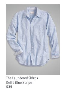 The Laundered Shirt Delft Blue Stripe $35