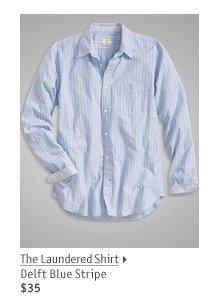 The Laundered Shirt Delft Blue Stripe $35