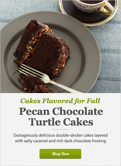 Pecan Chocolate Turtle Cakes - Shop Now