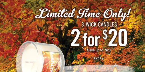 3-Wick Candles – 2 for $20!