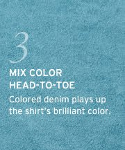 3. mix color head to toe. colored denim play us the shirts brilliant color
