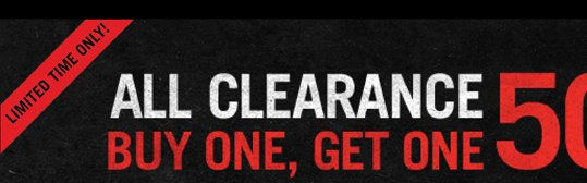 All Clearance: Buy One, Get One 50% Off