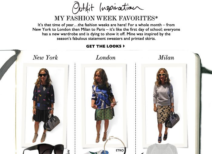 MY FASHION WEEK FAVORITES* – It's that time of yearthe fashion weeks are here! For a whole month – from New York to London then Milan to Paris – it's like the first day of school; everyone has a new wardrobe and is dying to show it off. Mine was inspired by the season's fabulous statement sweaters and printed skirts. GET THE 