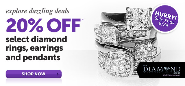 explore dazzling deals 20% OFF select diamond rings, earrings and pendants* - Shop Now