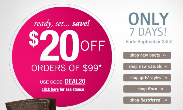 Hot deal - $20 off orders of $99!