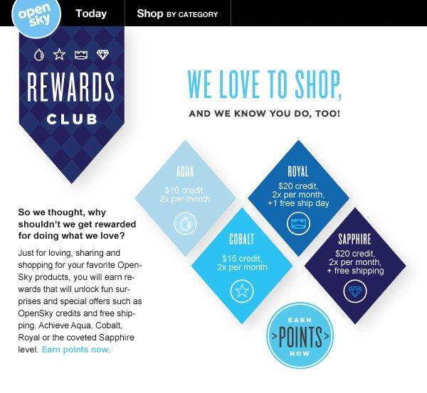 OpenSky Rewards Club - Earn Points Now