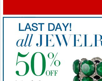 All Jewelry is now 50% Off! For a limited time. Shop Now!