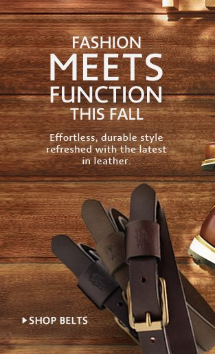 FASHION MEETS FUNCTION THIS FALL. SHOP BELTS