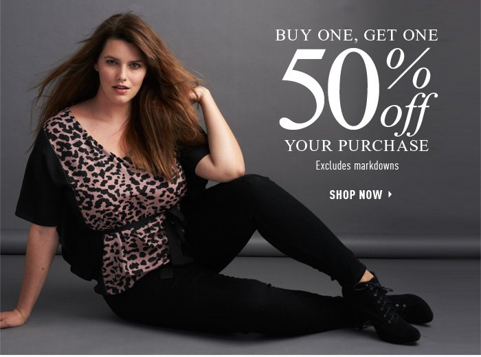 Buy One, Get One 50% OFF your purchase