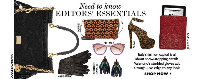 NEED TO KNOW EDITORS' ESSENTIALS – Italy's fashion capital is all about show-stopping  details. Valentino's studded gloves add a tough-luxe edge to any look. SHOP NOW