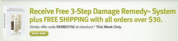receive free 3-step damage remedy system plus free shipping with all orders over $30
