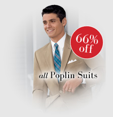 66% off all Poplin Suits